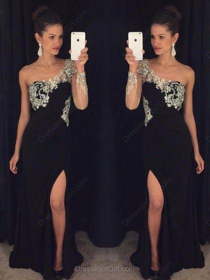 Sheath/Column One Shoulder Black Chiffon Tulle Split Front Long Sleeve Prom Dress