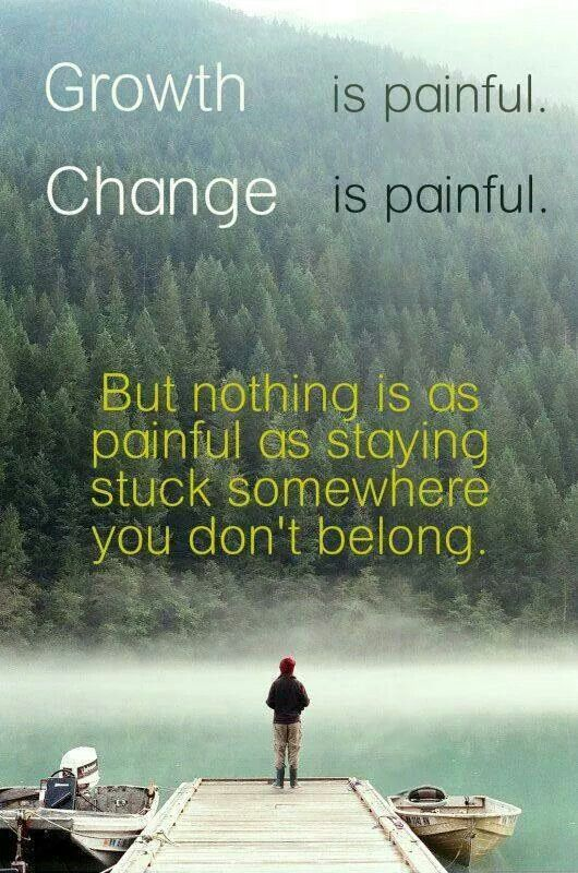 Nothing is as painful as staying stuck somewhere you don't belong.: