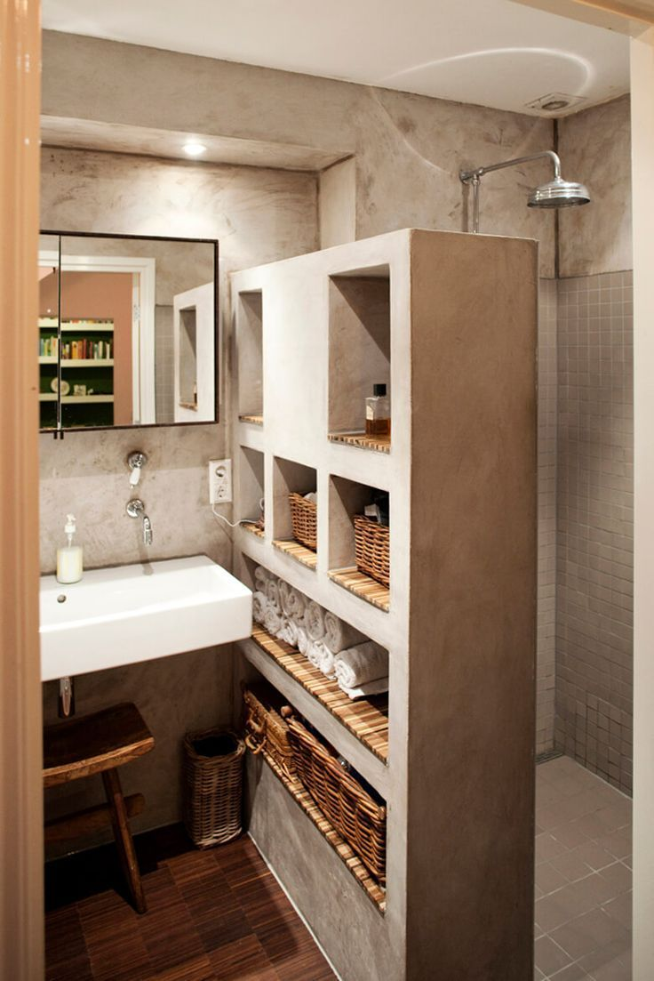 25 Brilliant Integrated Bathroom Shelf And Storage Ideas To Keep You Organized With Style Today Pin In 2020 Beton Dusche Badezimmer Badezimmer Regal