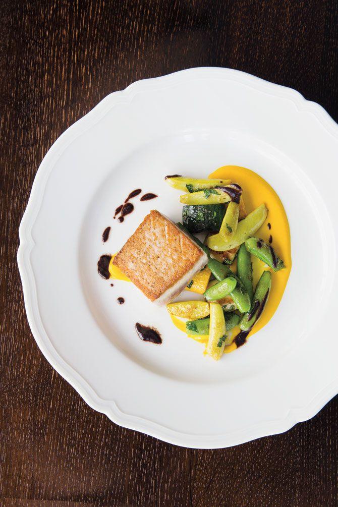 Bigeye Tuna With Heirloom Squash Sugar Snap Peas Yellow Squash Puree Mint Taggiasca Olive Oil | Recipes | Recipes | Food Arts