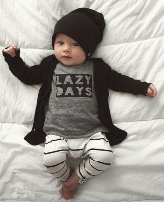 Autumn Cotton Baby Boy Long Sleeve T-shirt with Pants