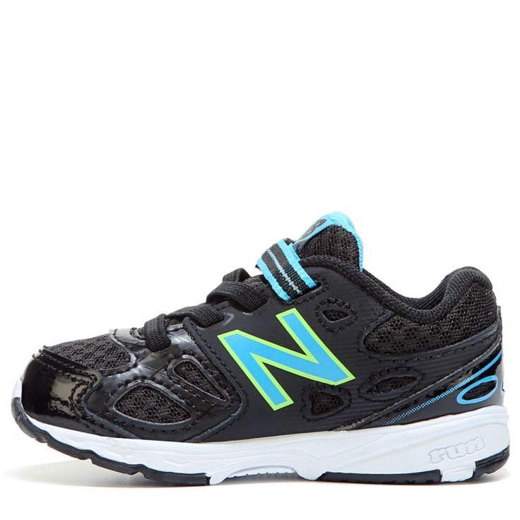 New Balance Kids' KA680 Medium/Wide/X-Wide Sneaker Baby/Toddler Shoes (Black/Blue Leather) - 2.0 2W