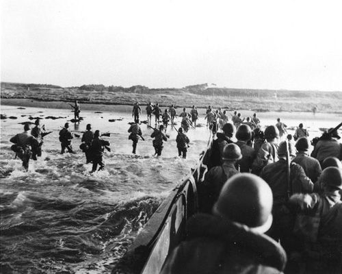 USS Iowa and marines near Yokosuka navy base on Tokyo Bay