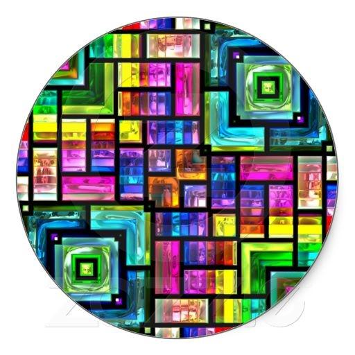 colorful mosaics round Sticker