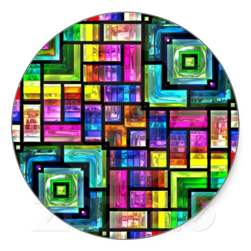 colorful mosaics round Sticker