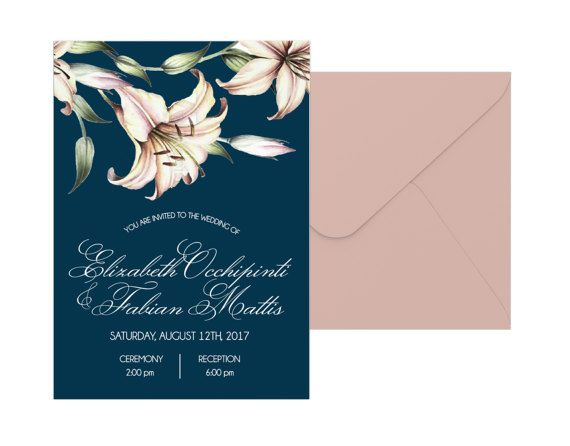 Lily Wedding Invitation Suite by pulpandponder on Etsy #navyandblush #lily #lilies #floralinvitation #navy #blush #pink #elegant #classic #floralinvitation #blue