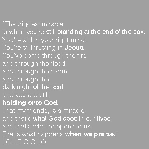 "I love Louie Giglio. ""How Great is out god"" is a awesome video. It really puts things into perspective."