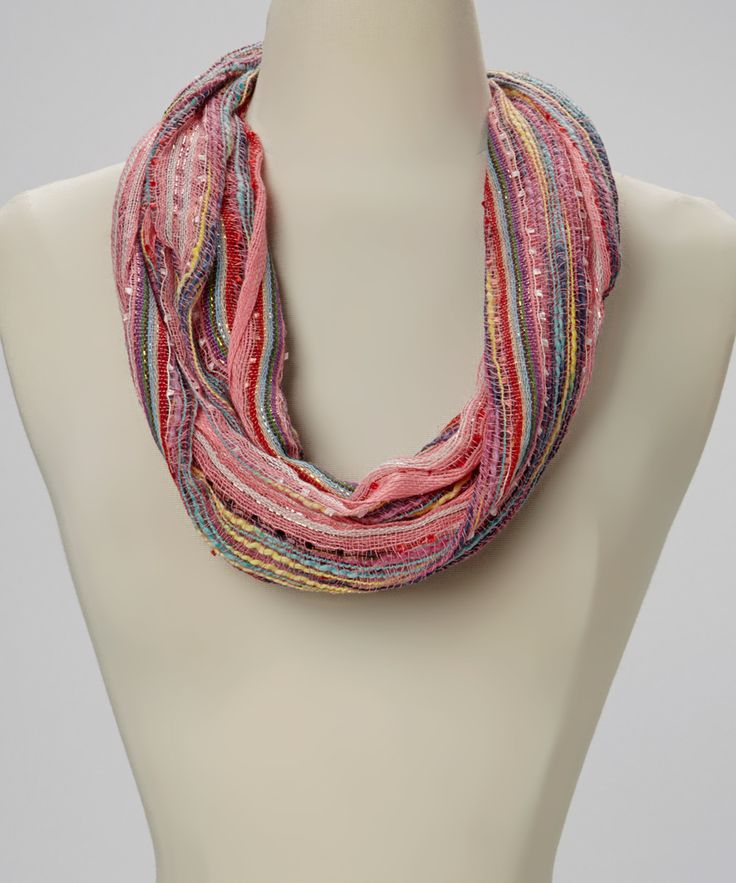 coral sparkle weave infinity scarf