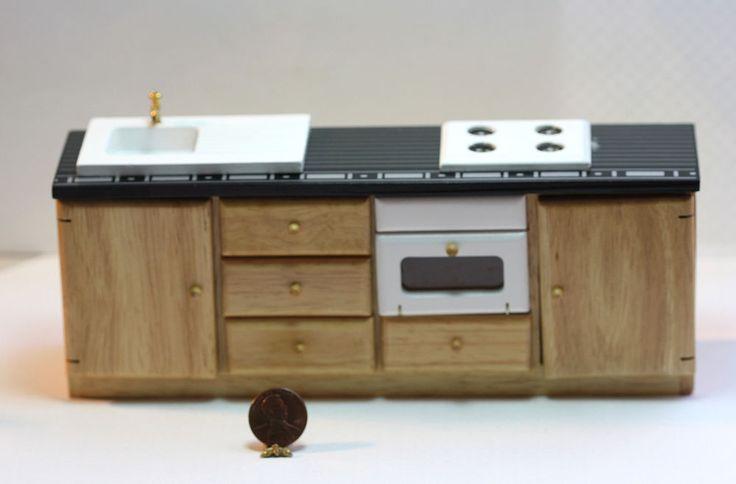 Dollhouse Furniture -  Modern Kitchen Wall Unit in Oak and Black
