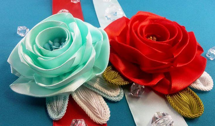 Ribbon rose:templates size/Rosa de la cinta:tamaño de plantillas/Розы из...