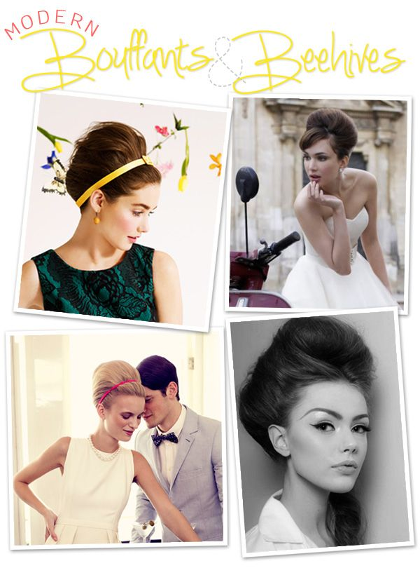 Bouffants & beehives, loving the modern take on this 50's vintage Mad Men hairstyle, great look for wedding day!