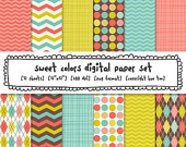 digital paper girls, pink magenta yellow aqua blue, digital photography backgrounds, argyle dots chevrons for personal/small commercial use