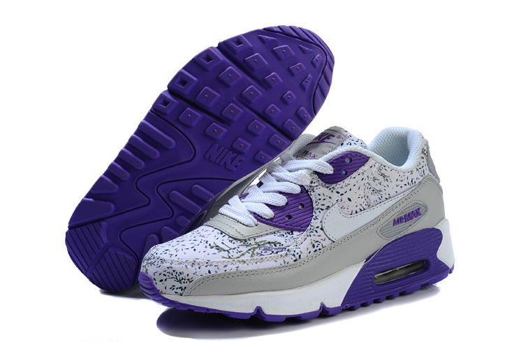 Nike Air Max 90 Shoes For Women Grey Purple NAM90W016 $65.56