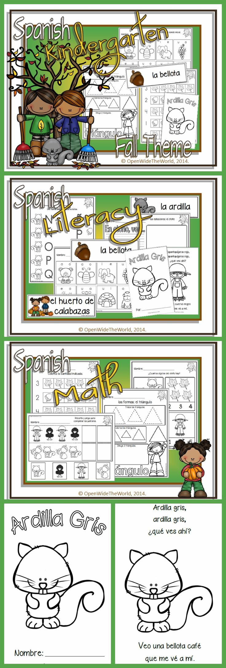 SPANISH Dual Language Immersion FALL-themed mini pack for KINDERGARTEN. (Grade 1 in some Canadian provinces) No English on student pages!