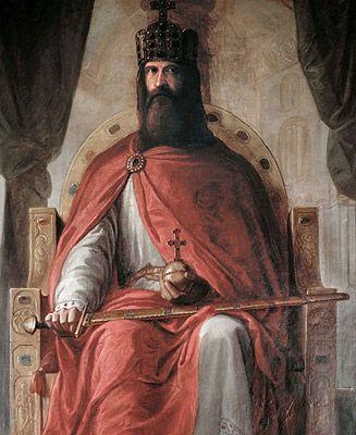 Charlemagne (742 - 814)- CHARLEMAGNE 3) VUE D'ENSEMBLE. 3.2 CHRONOLOGIE DE SON REGNE, 9: 805: conquête de la Vénétie (Pépin), campagne en Bohême (Charles); famine, capitulaire de Thionville. - 806: projet de partage de l'Empire; reconquête de la Vénétie par les Byzantins. - 808: insurrection des Wilzes, bataille de TAILLEBOURG contre les Sarrasins. - 809: concile d'Aix (question du Filioque).-