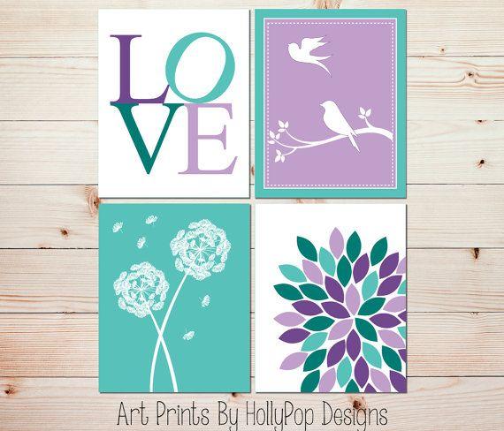 Purple Aqua Nursery Décor-Modern Nursery Quad-Floral Burst LOVE Typography-Nursery Art Prints by HollyPop Designs, $40.00