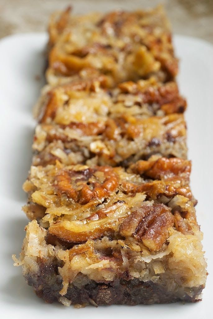 German Chocolate Pecan Pie Bars - These were amazing! I am very picky, always looking for the BEST recipe for something. I have made good pecan pies before, but these bars are so, so good that this will be my go-to recipe for pecan pie from now on.