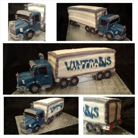 Anna's cake creations!   tractor trailer cake with vintrans logo!   tractor made of rice crispy squares!