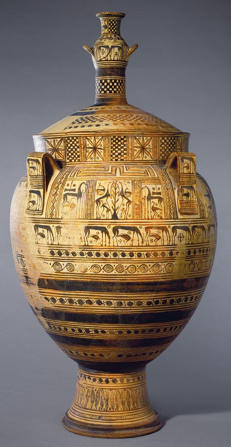 Etruscan geometric style pottery with deer, birds, horses, spirals and other patterns.C.750BC