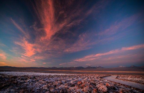 Laguna Tebinquiche, San Pedro de Atacama, Chile — by Andreea Grosu. #goldenhour in Atacama desert seen from Laguna Tebinquinche