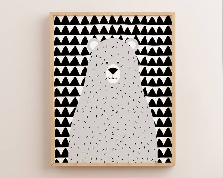 Grey Nursery Decor, Scandinavian Nursery, Grey Bear Print, Grey Wall Art, Nordic Nursery, Grey Print, Nursery Wall Art, Kids Wall Art scandi by AdornMyWall on Etsy