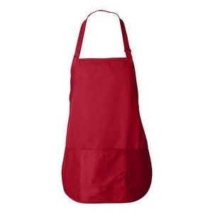 Liberty Bags Adjustable Neck Strap Three Pocket Apron - Red - One Size