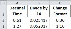 Convert decimal time to mm:ss time in #Excel