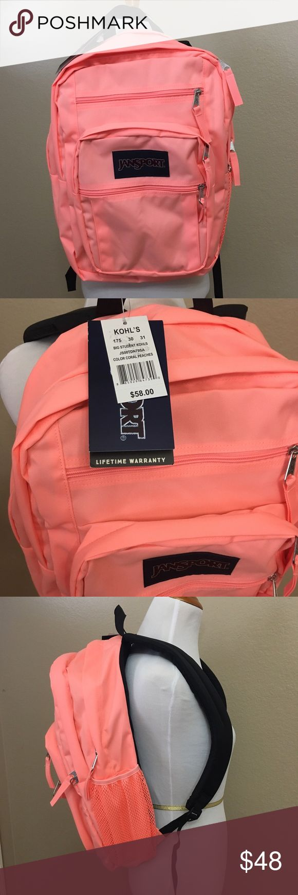 Cute coral Jansport backpack This is a brand new with tags coral colored Jansport backpack. No flaws. This backpack has various compartments to store everyday necessities! Even has a side pouch for a water bottle or coffee mug. Also selling a pink Jansport in my closet. Jansport Bags Backpacks