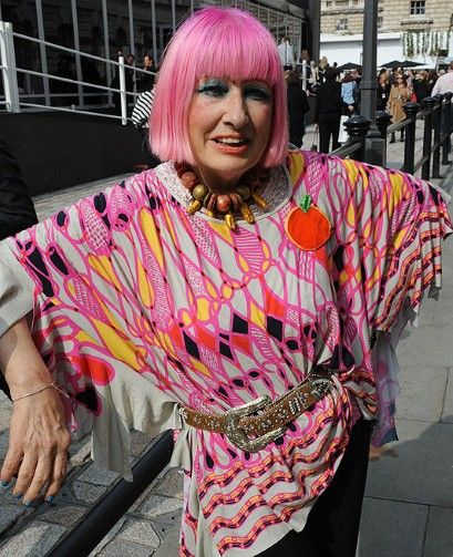Zandra Rhodes at London Fashion Week in September 2010