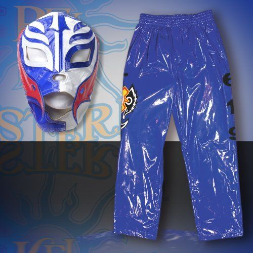 WWE Rey Mysterio Blue Replica Kid Size Mask & Pants Combo by WWE. $129.00. Made of faux leather!. Officially Licensed WWE Wrestling Merchandise!. Fits kids ages 8 and up!. Pants measure approximately 29 inches long and fit 28 - 32 inch waist (adjustable drawsting)!. Kid Sized Rey Mysterio Mask & Pants Combo!. Rey Mysterio WWE Kid Size Replica Wrestling Mask & Pants! Officially Licensed by WWE. Made directly from Rey Mysterio's own mask. Fits kids ages 8 and up.