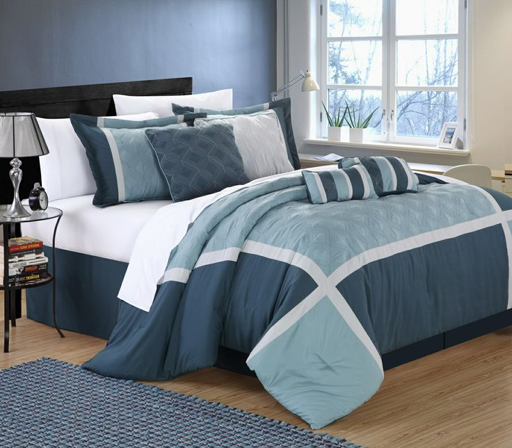 """Fill material is made from 100 GSM brushed microfiber, which is a soft plush fabric comparable to 200TC cotton. Set includes: 1 comforter (King=110x90""""/Queen=90x90""""), 1 bed skirt (King=78x80+14""""/ Queen=60x80+14""""), 2 shams (King=20x36+2""""/Queen=20x26+2""""), 2 filled square cushions 18x18"""", 1 cushion 12x18"""", 1 breakfast pillow 9x12. 4 Elegant décor pillow combinations give you many alternate looks you can achieve with just this one set. #Luxbed #chichome #Quincy #comforter #bedroom"""