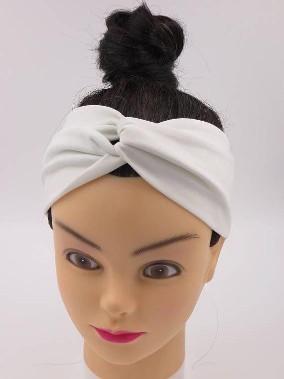 Fascia per capelli turbante color bianco crema bandana estiva