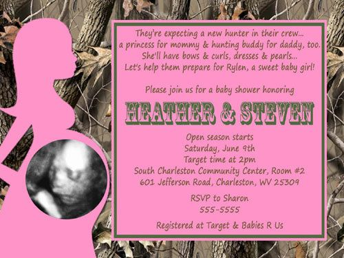 best camo for tykes images on   realtree camo, Baby shower invitation