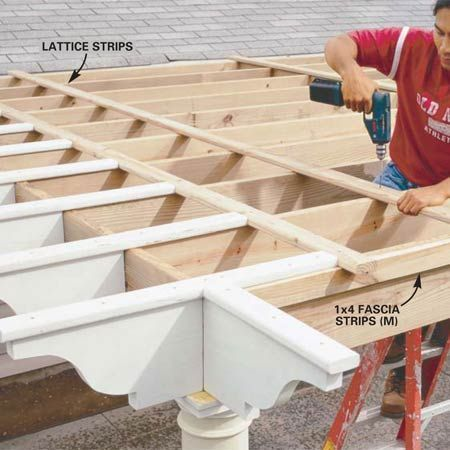 How to Build a Pergola - Step by Step   The Family Handyman. For over the front courtyard! #pergolaplans #easydeckstobuild