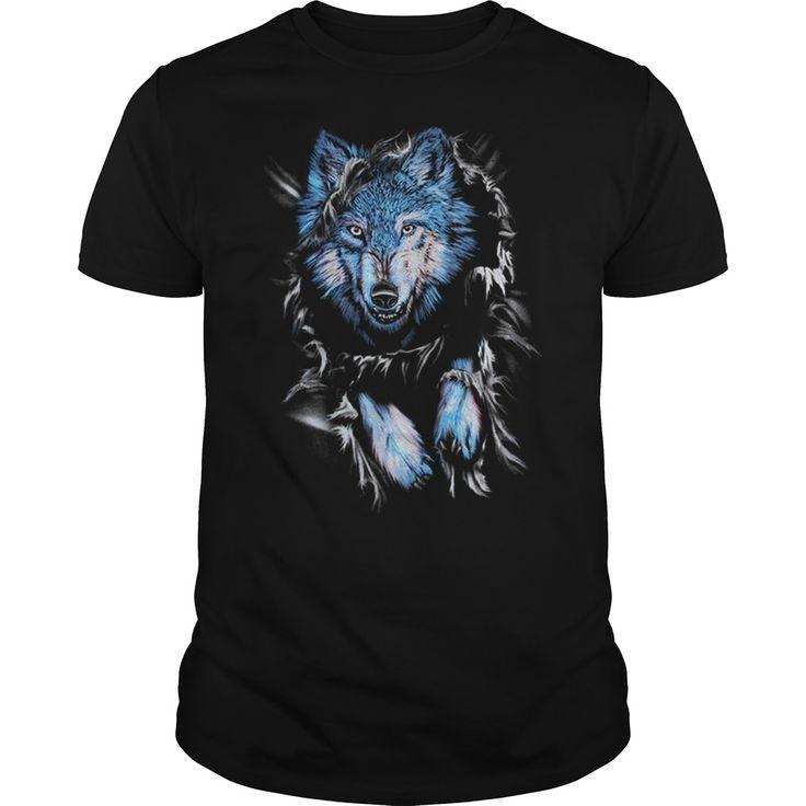 Wolf Lovers Tee Shirt. Coomes in blue or black. Mens/Womens. Hoodie