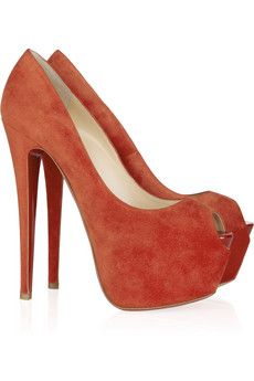 Louboutin highness 160 suede pumps £635 <3: Color, Louboutin Peep Toe, Red Orange Suede, Louboutin Pumps, Suede Louboutins