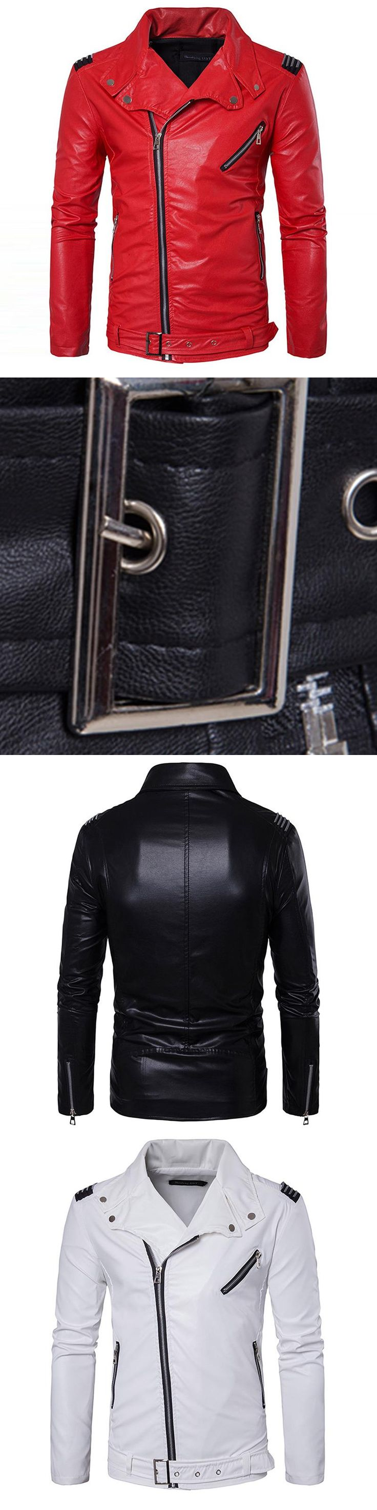 Manvelous Men Faux Leather Jacket Fashion Casual Long Sleeve Lapel Solid Thick Men Coat Black Red Color Slim Suede Men Clothing