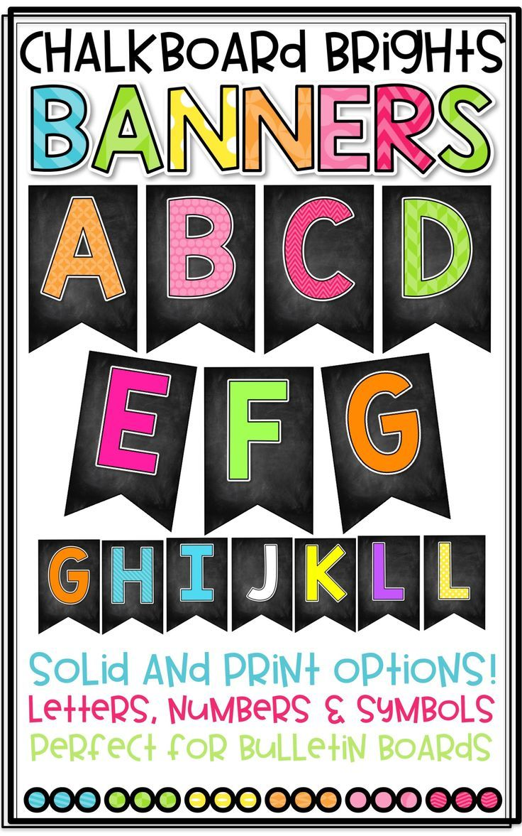 Chalkboard Brights Banner to create Bulletin Boards! Perfect for Classroom Decor! Solid and Print Options. Letters, Numbers, and Symbols Included!