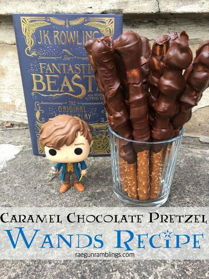 easiest caramel chocolate pretzel wands recipe harry potter