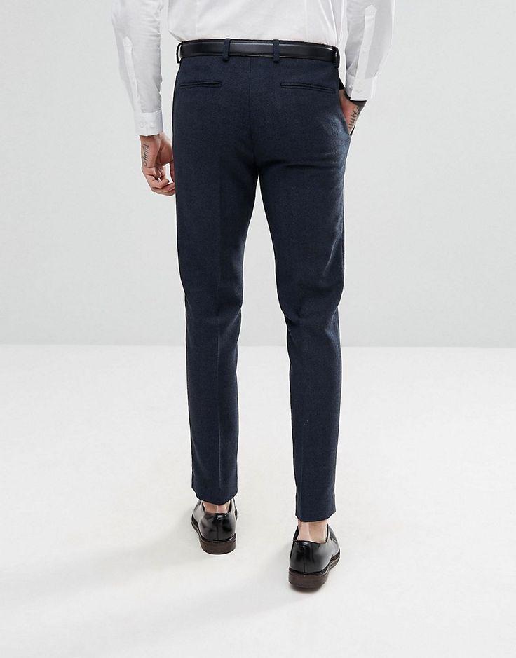 ASOS Skinny Suit Pants in Navy Herringbone - Navy