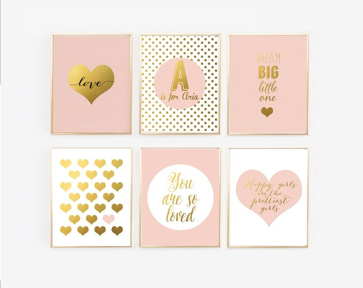 Blush and Gold Prints with personalized name, Set of 6 Nursery Gallery Wall,  Nursery Decor, Pink Girl nursery, Glamour nursery, Faux Foil by Wall + Wonder on Etsy. Nursery Prints