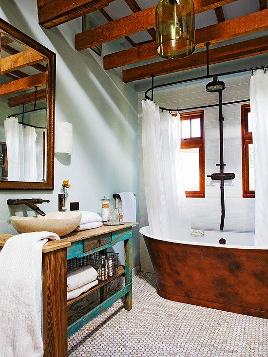 That vanity is beautiful. Love the splash of teal. More cottage-inspired bathroom ideas: http://www.bhg.com/bathroom/decorating/cottage/country-bathroom-design-ideas/