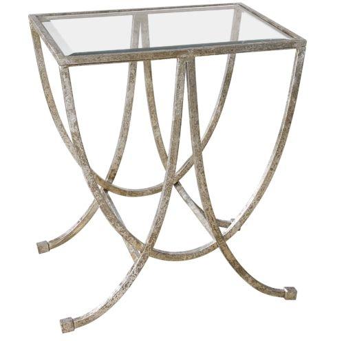 Marta Antiqued Silver Side Table – Hudson Home Decor