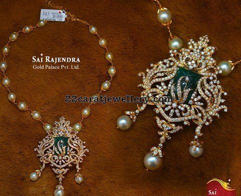 Pearls Set with Diamond Pendant