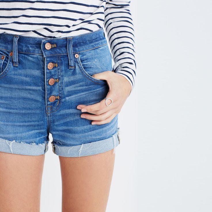 High-Rise Denim Boyshorts: Button-Through Edition : shorts | Madewell