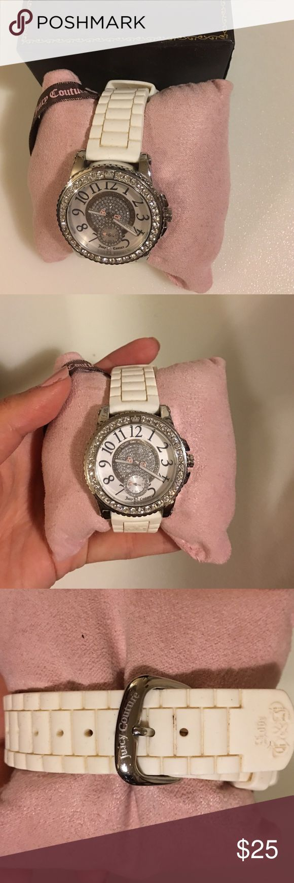 White gel band Juicy Couture watch Watch is used, band is gel and is a bit dirty. Batteries does not work. All rhinestones are in tact. Watch box for storage is broken. Juicy Couture Accessories Watches