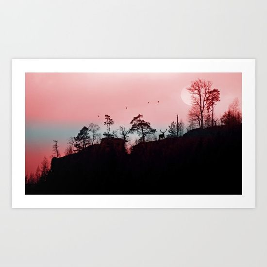ABOUT THE ART A red deer standing on a big rock watching at the sunrise on a hazy morning. Some birds flying by.  photography  digital  digital-manipulation  nature   sun  silhouettes  trees  forest   birds  red-deer  animals  red   haze  mist  blue  black   pink  pastel-colors  rocks