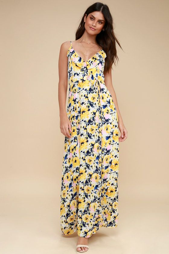 1093c8ec135 Berryessa Yellow Floral Print Sleeveless Maxi Dress | dresses ...