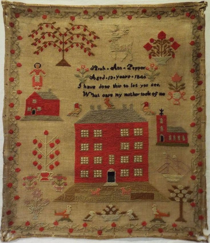 Early/mid 19th century linen and wool work sampler by Sarah Ann Pepper aged 13 - 1840. This sampler is just delightful with fine quality stitch work throughout. The colours of the wool are good. The last photo is of the reverse of the sampler and indicates how the colours would have looked when Sarah Ann first stitched it. | eBay!