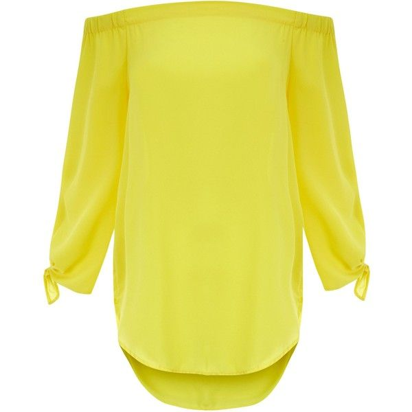 Top Bardot jaune à manches nouées ($18) ❤ liked on Polyvore featuring tops and yellow top